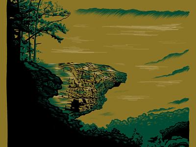 Arkansas forest hike ozark trees landscape illustration