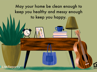 Messy & Clean lamp plant guitar house home real estate illustration