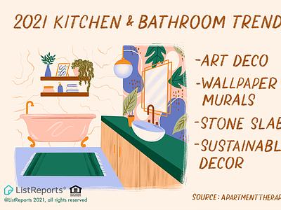 Kitchen & Bathroom Trends art deco rug sink tile bathtub bathroom lettering hand lettering illustration