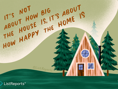 Happy Camper tiny home house home happy home trees nature woods cabin a frame hand lettering illustration