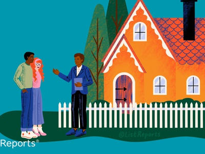 Real Estate Agent white fence real estate agent real estate new home house people illustration