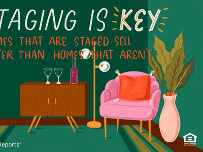 Staging is Key light rug plant house plant couch chair real estate staging house home illustration