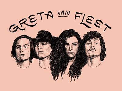 Greta Van Fleet sketch retro men band musicians music rock and roll rock greta van fleet portrait type typography lettering hand lettering illustration