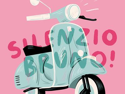 Silenzio Bruno! cute movie pixar bruno silenzio italy luca vespa drawing lettering hand lettering illustration