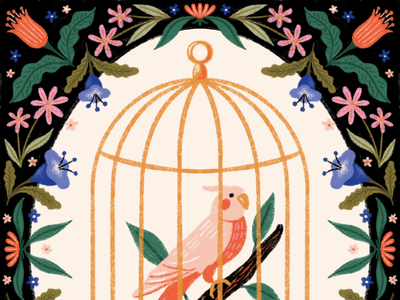 Peachtober day 24 - bird leaves parakeet flowers floral cage bird cage bird illustration