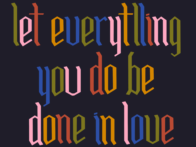 Do it in love rainbow hand lettering type lettering