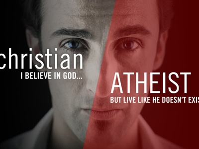 Christian Atheist red typography black