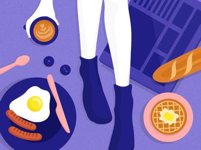 Breakfast in Bed vector design illustration
