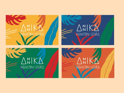 Personal Business Cards business card design bright color combinations triangles tropical nature plants colorful bright colors illustration play playful logo design branding business card