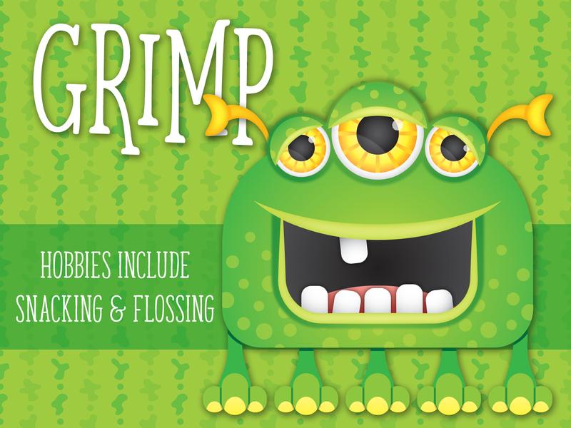 Lil' Monsters - Grimp monster printables monster mash monster character art monster birthday illustrator child birthday illustration
