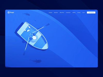 "Prezi ""Zoom Reveal"" Homepage sea reveal zoom brainwaves waves brain fish dinghy boat lake ocean blue illustration ui web design prezi"