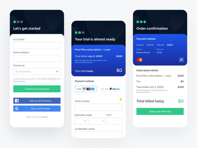 Prezi Mobile Registration blue ui ux signup form trial checkout credit card payment flow funnel registration mobile prezi