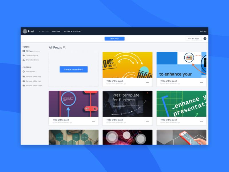 Prezi Dashboard product design blue app ux design ui design web web design dashboard prezi ui ux