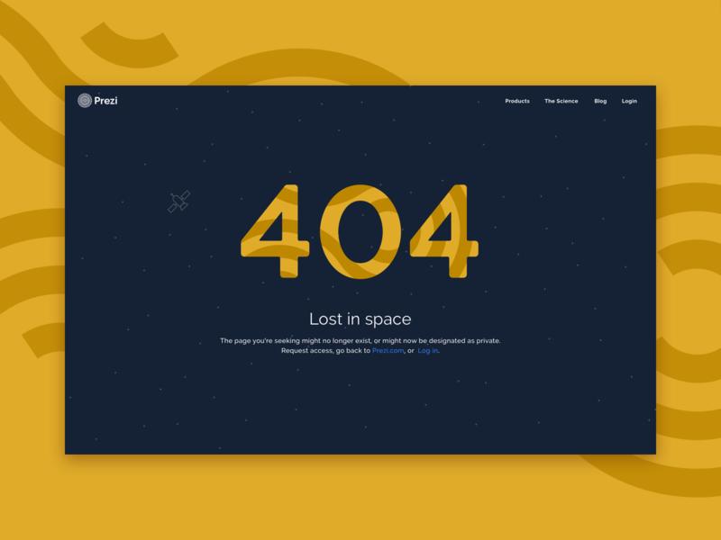 Prezi 404 satellite space yellow prezi error 404 ux ui web design web