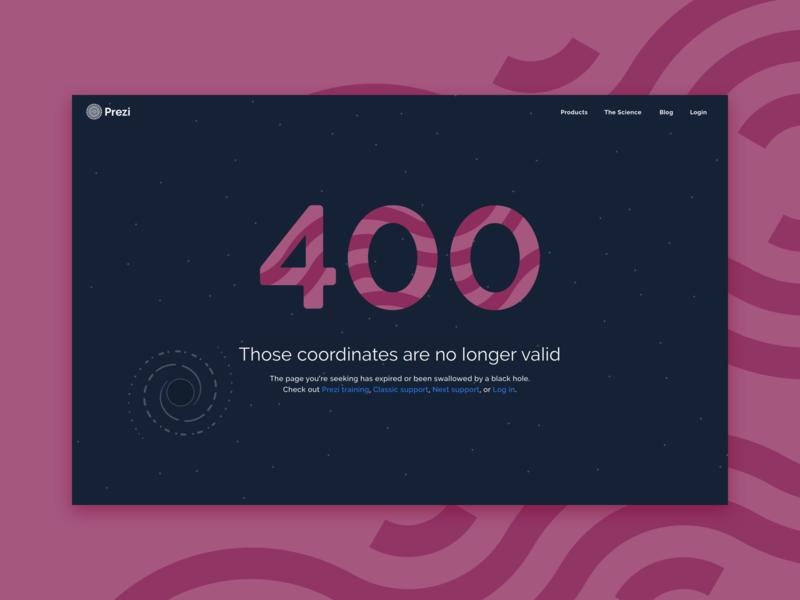 Prezi 400 purple 404 black hole error 400 space illustration prezi web design web ux ui