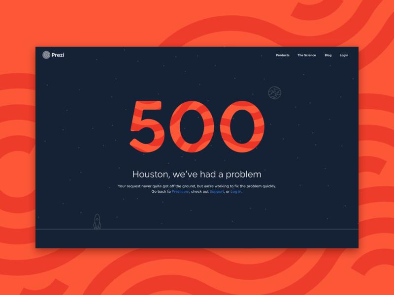 Prezi 500 red server error illustration error 500 404 prezi web design web ux ui