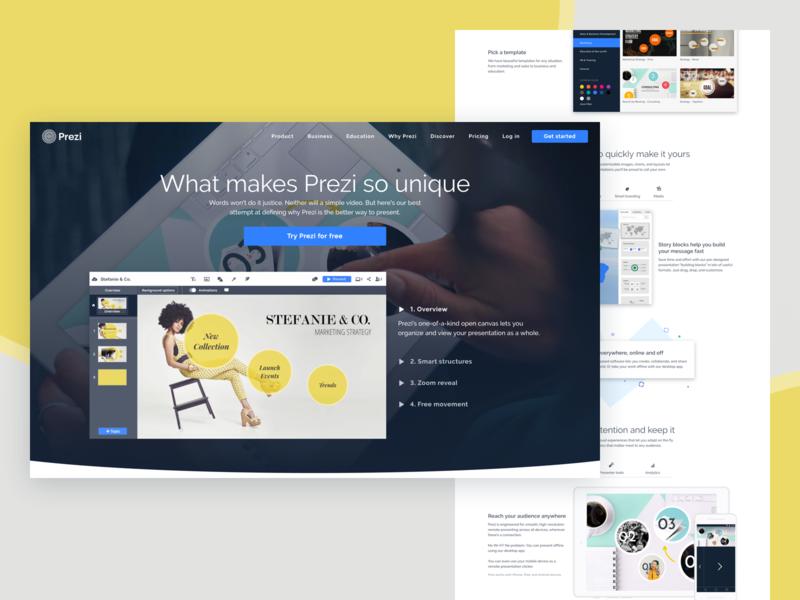 Prezi Product Page features page product responsive design web design web prezi ux ui