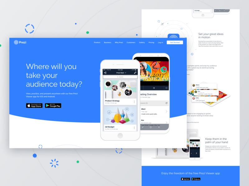 Prezi Viewer App Landing Page landing page mobile app ux design ui design blue app web design web ux ui prezi