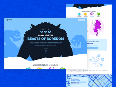 Beasts of Boredom - Landing Page serpent blob ghost yeti dreamforce monsters campaign illustration ux design ui design web design web ux ui prezi