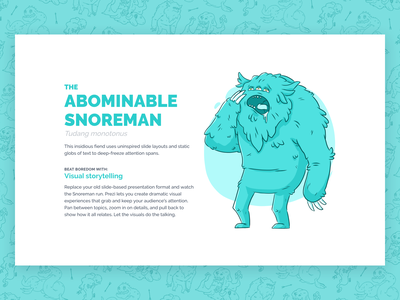 Beasts of Boredom - Abominable Snoreman teal dreamforce yeti monster campaign illustration ux design ui design web design web ux ui prezi