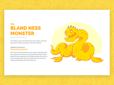 Beasts of Boredom - Bland Ness Monster dreamforce serpent yellow monster campaign illustration ux design ui design web design web ux ui prezi