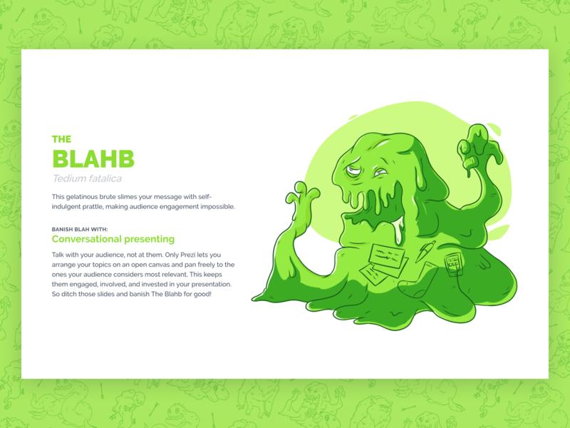 Beasts of Boredom - The Blahb blob green monster campaign dreamforce illustration ux design ui design web design web ux ui prezi