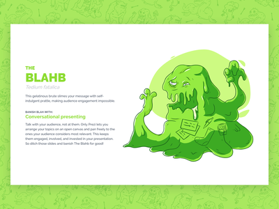 Beasts of Boredom - The Blahb blob green monster campaign dreamforce illustration ux design ui design web design web ux ui prezi
