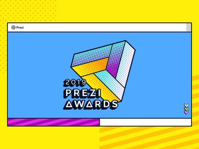 2019 Prezi Awards Landing Page animation halftone award yellow banana pop art logo illustration ui web design prezi