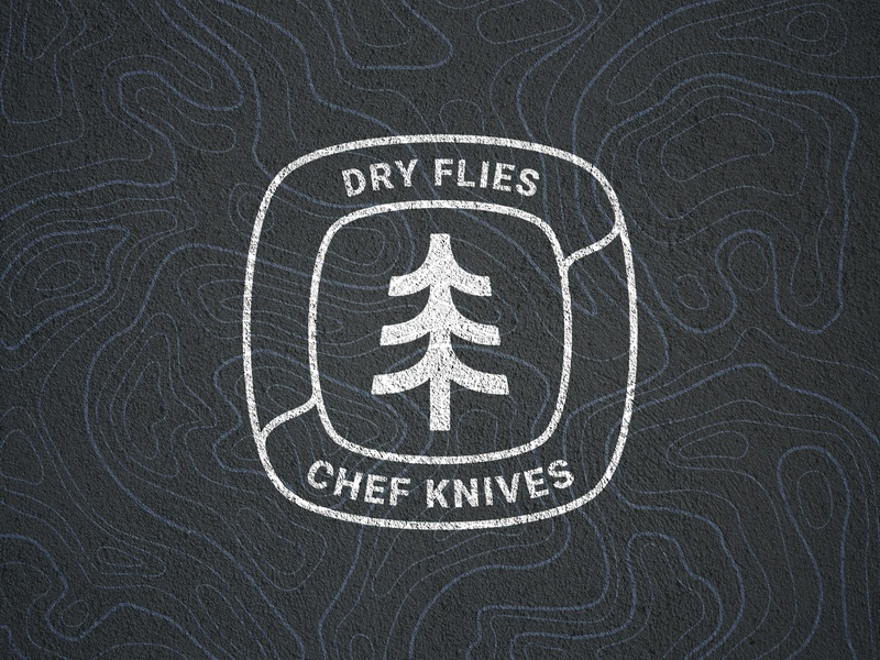 Dry flies & Chef Knives logo logoidea handdraw symbol logo logo idea woodwork forest squard quad lines rounded tree
