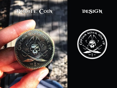 Pirate coin design hat pirate skull captain pirate gold brass coin etching mockup vintage coaster coin pirate