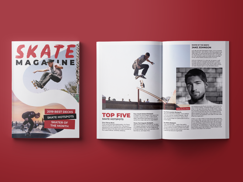 Skate Magazine Cover Editorial Page Layout By Mick On
