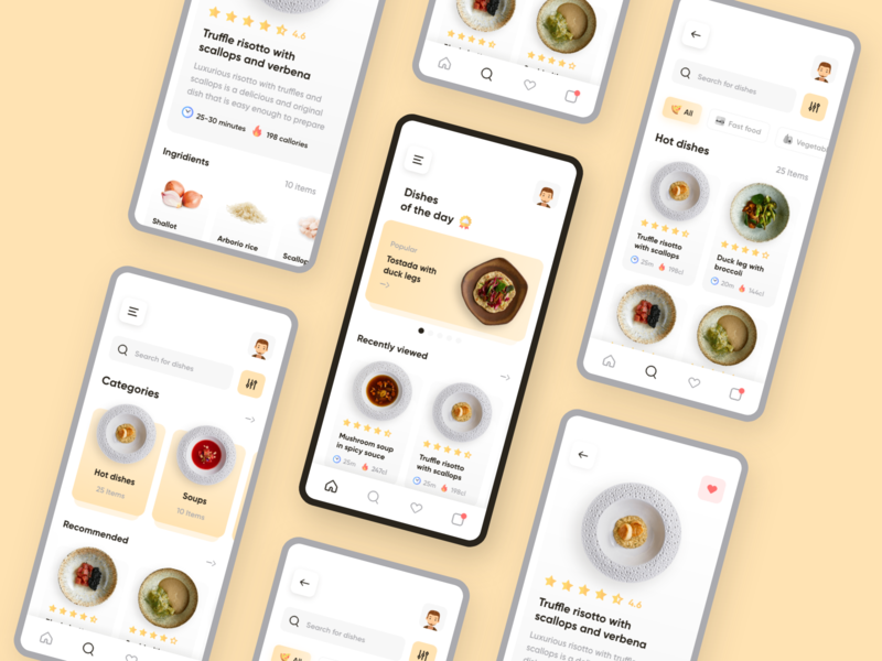 Cooking App Challenge ui ux adobe xd dishes tasty food and drink ios mobile concept cooking app food app