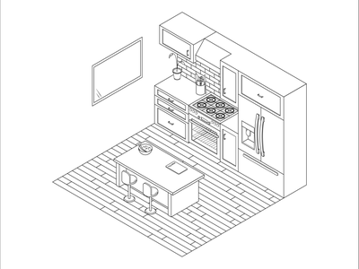 Kitchen Illustration Outline vector floor plan layout no color outline black and white house illustration blueprint house architecture kitchen