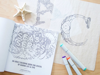 Seas & Serifs sea life lettering typography adult coloring book illustration