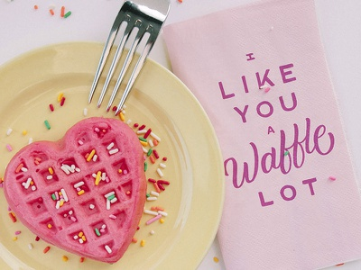 A Waffle Lot typography heart valentine valentines day type lettering waffles