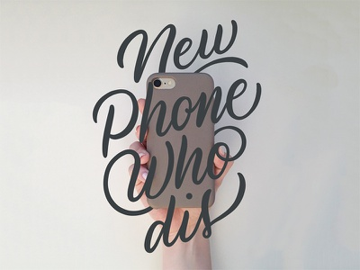 New Phone Who Dis iphone phone apple pencil procreate typography type lettering