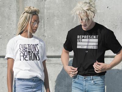 Represent Us lettering type tee tee design tee shirt apparel represent representation america usa politics represent us