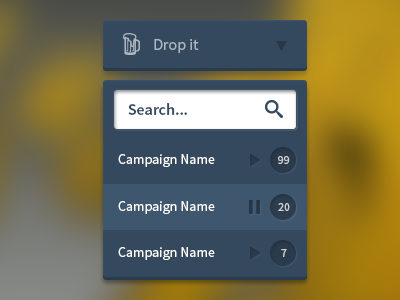 Search dropdown