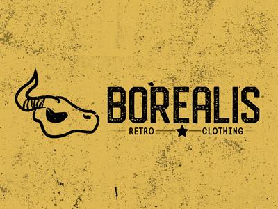 Borealis - Skull Retro Clothing logo skull logo clothing label clothing brand clothing retro illustration dailylogodesign design icon branding logo vector