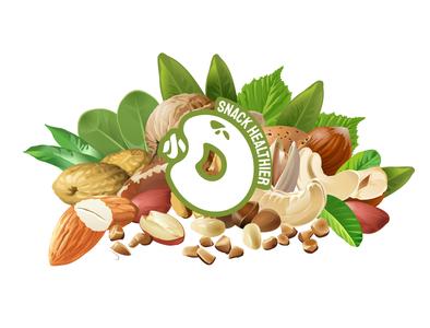 小O - Healty snacks logo healthy eating nuts healthy snack logo typography icon branding logo vector