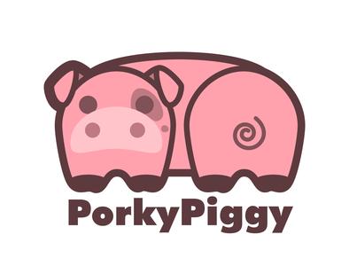 Porky Piggy - Cute Pig Logo cute art cute animal piglet pink pig logo pig piggy illustration design icon branding logo vector