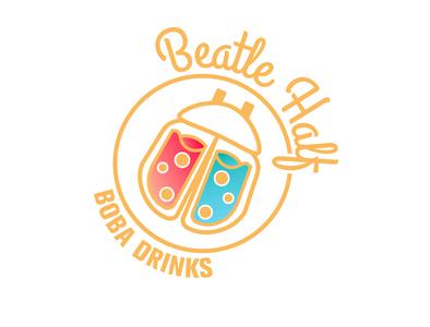 Beatle Half - Boba drink shop logo bottle milk tea bubble tea drinks beatles boba boba tea illustration design icon branding logo vector