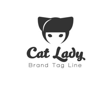 Cat Lady cute cat lady cat illustration design icon branding logo vector