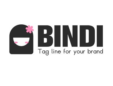 Bindi - Cute girl Logo girl character girly flower cute girl illustration design icon branding logo vector