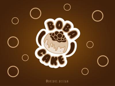 Boba Cake Logo boba tea cake logo cake boba cake boba illustration design icon branding logo vector