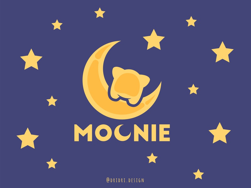 Moonie - Cat on the moon design cute logo cute animal stars moon cat illustration design icon branding logo vector