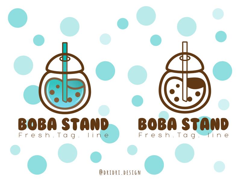 Boba Stand logo milk tea boba tea boba illustration design icon branding logo vector