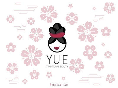 Yue - Beauty logo asian makeup flower oriental girl girl character beauty illustration design icon branding logo vector