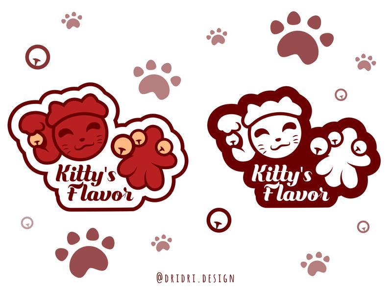 Kitty Flavor 猫味 cute animal cartoon cute cat illustration chinese character typography design icon branding logo vector
