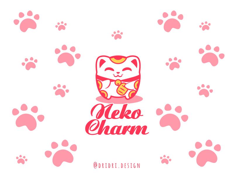 Neko Charm Logo lucky charms lucky cat cat illustration design icon branding logo vector